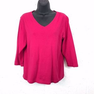 Additions By Chicos Fuchsia 3/4 Sleeve Top, Size:2